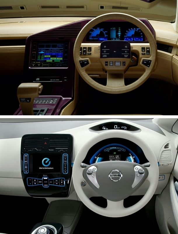 nissan cue x concept car interior vs nissan leaf interior from rretrofuturism meme guy. Black Bedroom Furniture Sets. Home Design Ideas