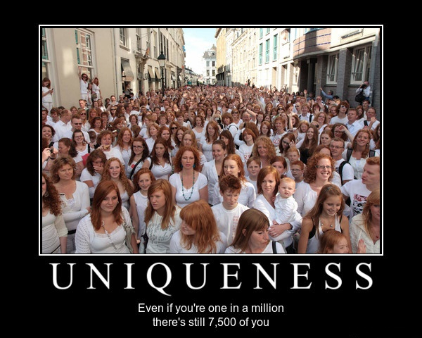Uniqueness - even if you're one in a million there's still 7,500 of you