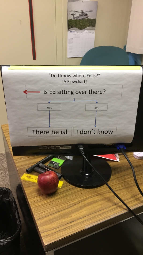 A co-worker got tired of people asking where Ed is
