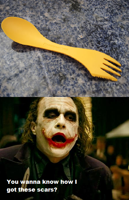 A fork knife and spoon all in one - Meme Guy