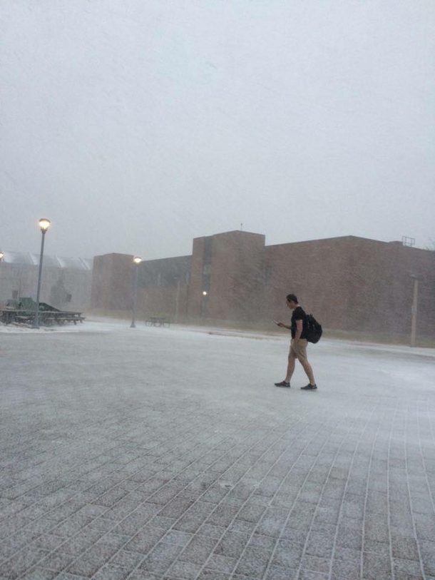 A guy at my University in Canada walking to class