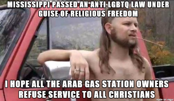 almost politically correct redneck reacts to Mississippi religious freedom law