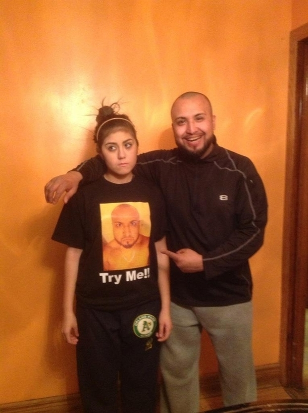 As punishment a daughter wears her dads face to school