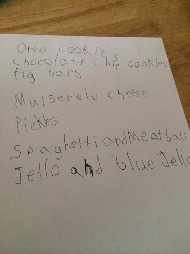 Asked my nephew what he wants from the supermarket and he produced this