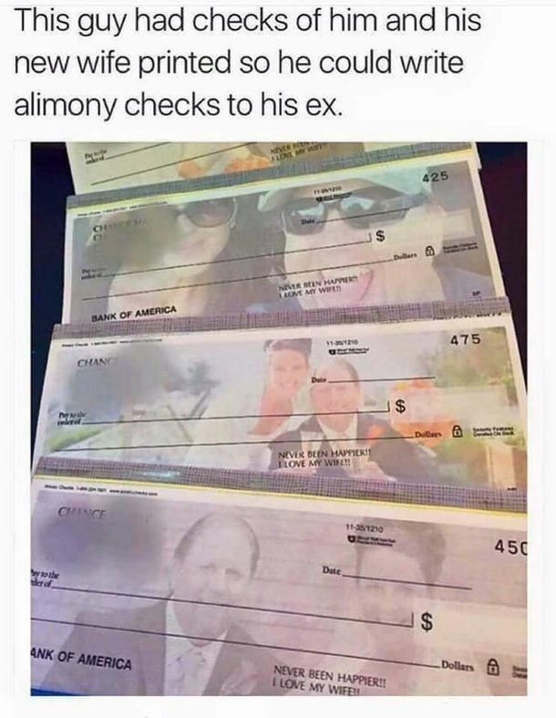 Best use of custom cheques Ive seen