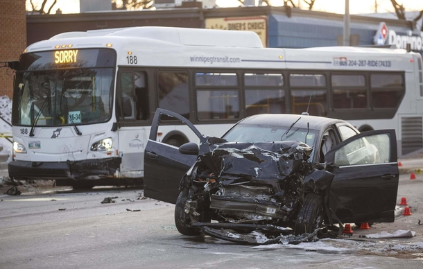 Bus apologizes for crashing into car in Winnipeg Manitoba