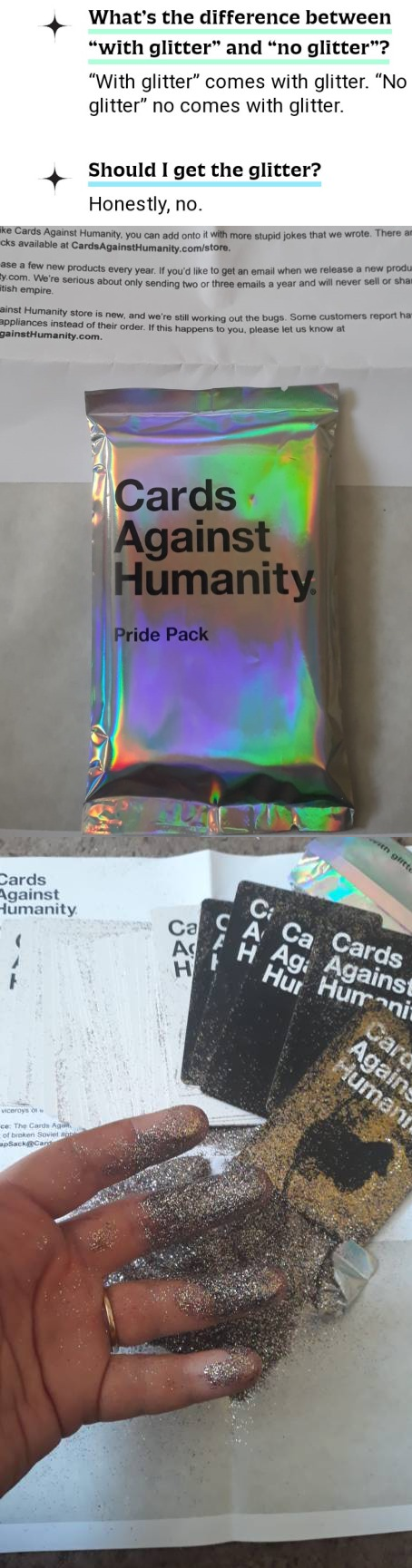 Cards Against Humanity issued a Pride pack complete with warning