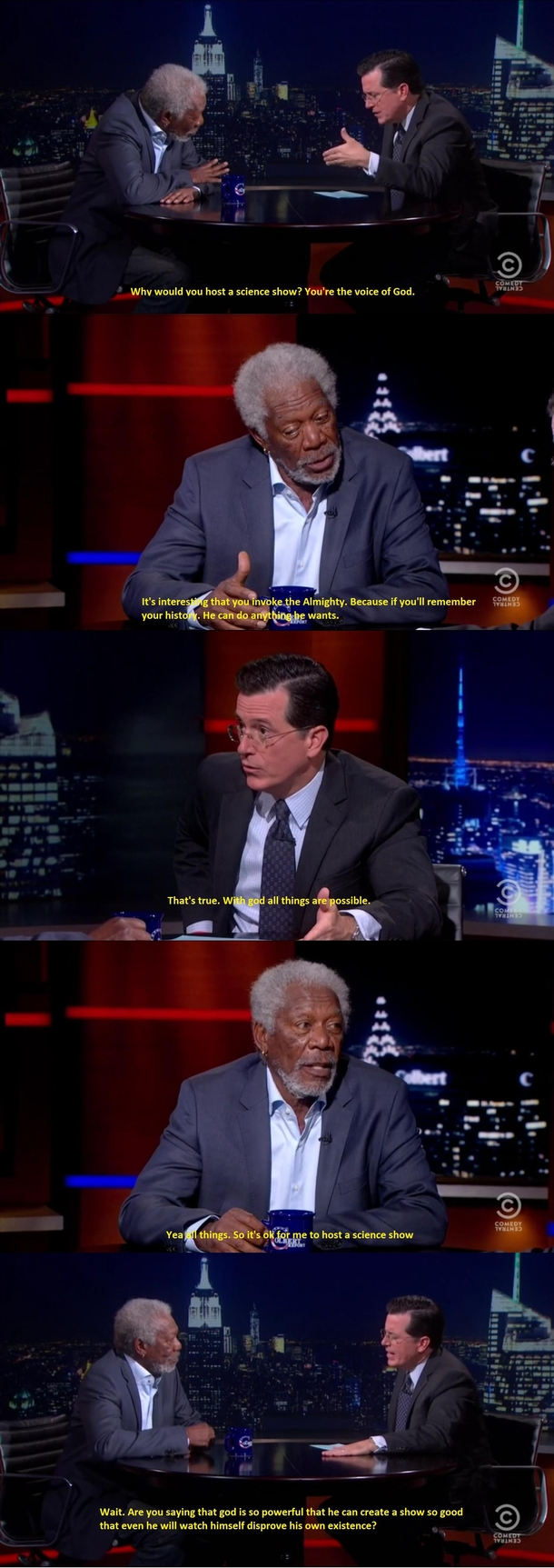 Colbert Interviewing Morgan Freeman on Through the Wormhole