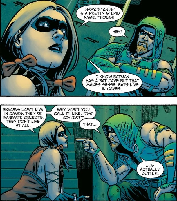 comedy gold from harley quinn and green arrow meme guy