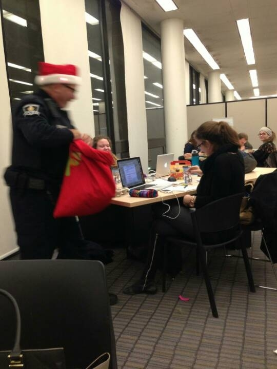 Cop came into my Universitys library with candy canes shouting Ho Ho Ho from the Po Po Po