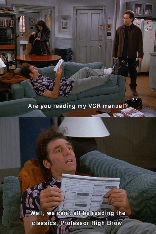 Cosmo Kramer on the literary arts