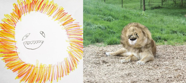 Dad turns -year-old Sons Lion drawing into a realistic rendering