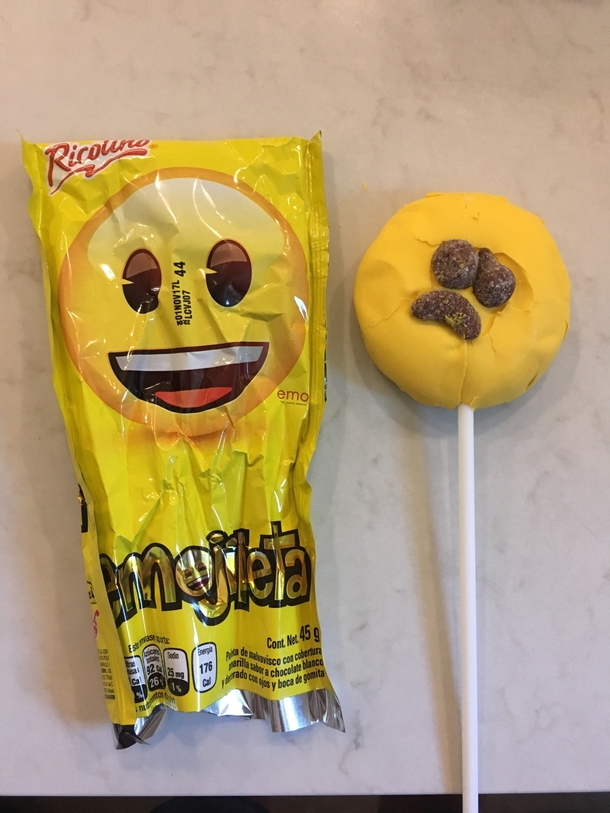 Daughter brought an Emoji marshmallow lollipop thing back from Mexico
