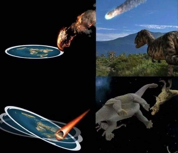 Dinosaur extinction according to the flat earth society