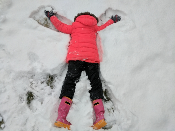 Explained how to make snow angels to my kids Forgot one important detail