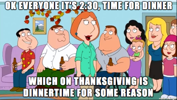 Family Guy summing up my views on Thanksgiving