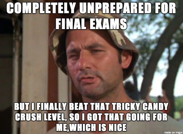 Funny Memes For Finals : Finals week in a nutshell meme guy