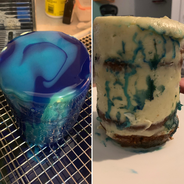 First attempt at a mirror glaze cakeleft was how it initially started off and the right is what we ended up with
