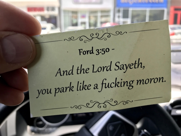 Forgive me father for I may have sinned someone put this under the windshield wiper on my Tundra