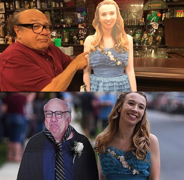 Girl takes cardboard cutout of Danny DeVito to prom so Danny DeVito takes cardboard cutout of the girl to Paddys Pub
