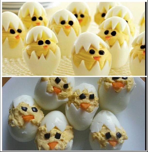 Girlfriend attempted to make deviled egg chicks Close enough