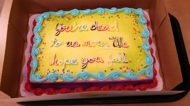 Going away cake for a much loved coworker he will be ...