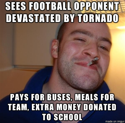 Good guy Sacred Heart Griffin high school who will host Washington IL in football playoffs after terrible tornado