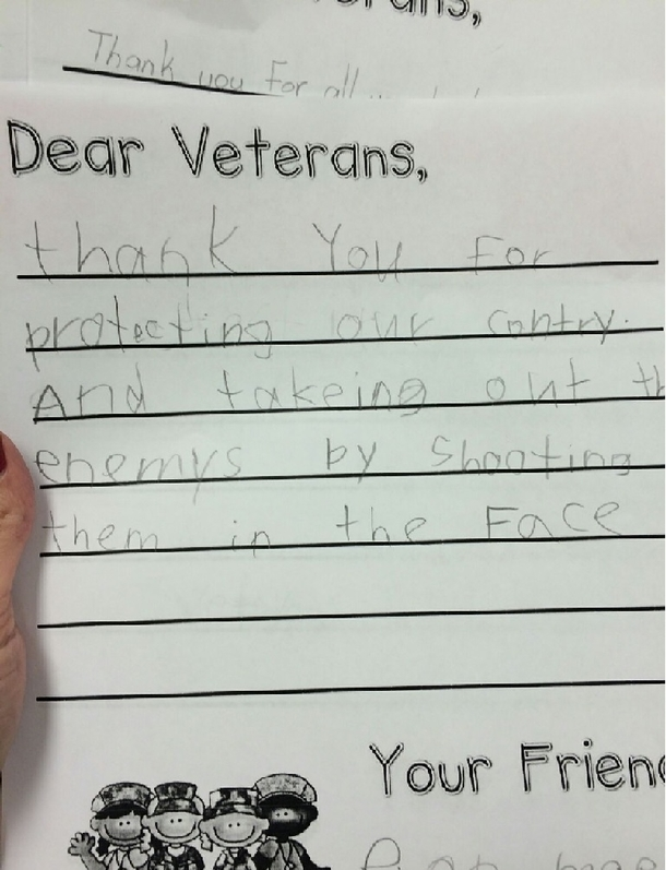 great veterans day letter from a nd grader