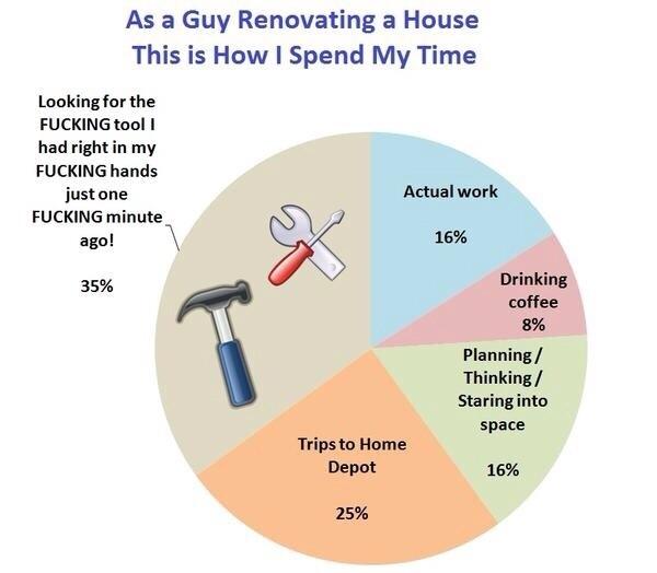 Home Renovation Time Spent Pie Chart Meme Guy