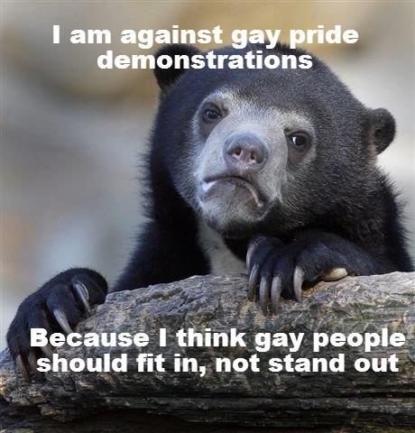 How I feel with my gay pride activist friends