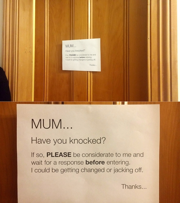 I swear every mother does this Had to put this on my door