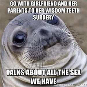 i was in the car with my girlfriend and her parents when she woke up from surgery 124787 to the guy whose gf wants to date another dude for weeks hate to