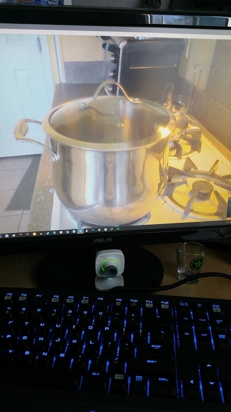 I was too lazy to keep getting up and check my pot if it was boiling so I just skyped it