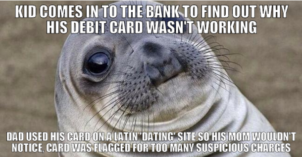 i work at a bank and was put through this very awkward situation this week 144223 its finally cold now too great start to november meme guy