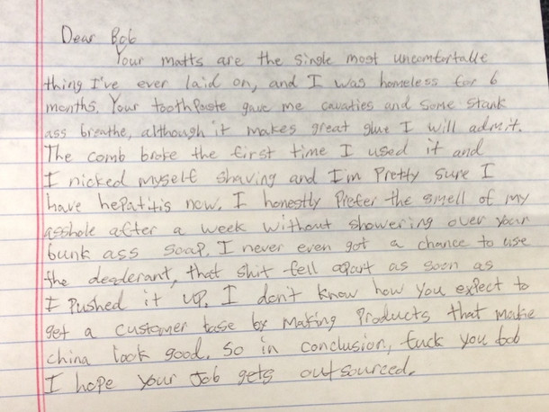 I work for a correctional supply companythis was an inmate letter Hey feedback is a progress