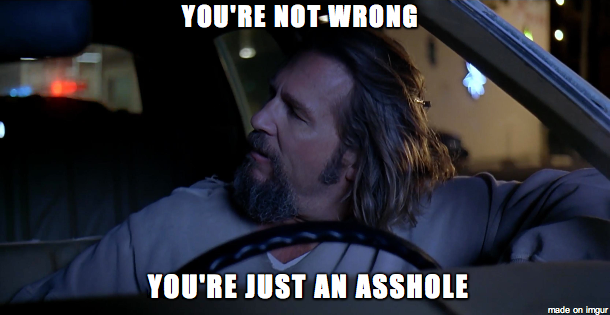It seems Reddit needs to be reminded of this every so often this is the scene where the Dude actually says this line