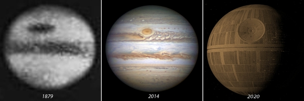 Jupiter through the years as telescope tech improves