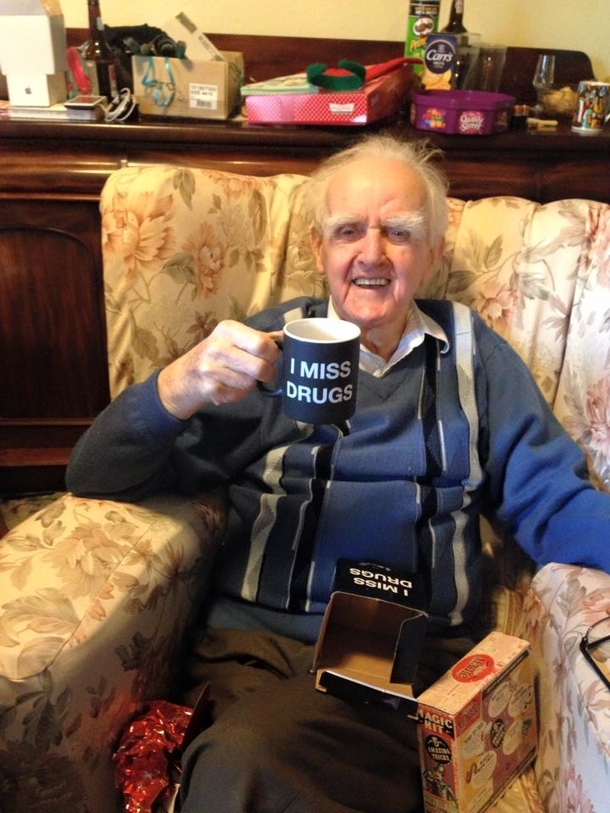 Last year my friends mum got his year old Great Grandfather a mug saying  nobody knows Im gay This year shes taken it up another notch