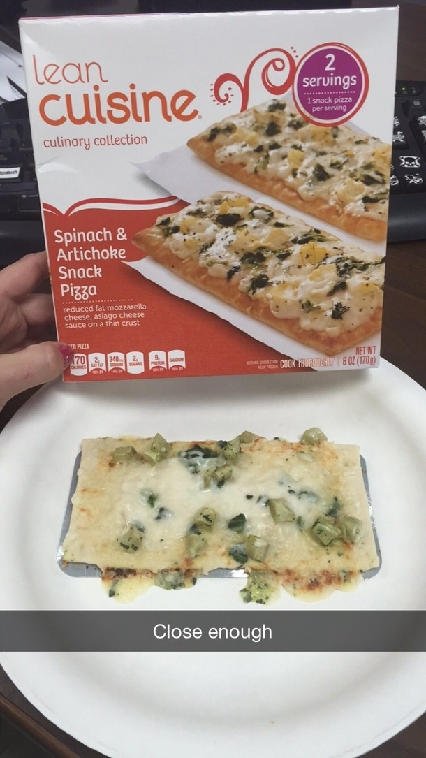 Lean cuisine spinach amp artichoke snack pizza meme guy for Are lean cuisine pizzas healthy