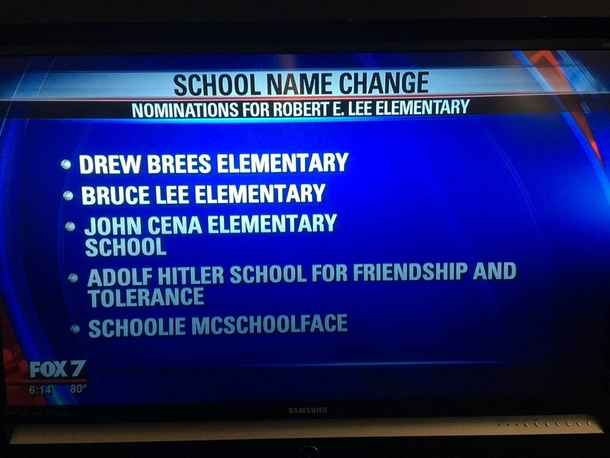 Local elementary school is taking submissions on their name change