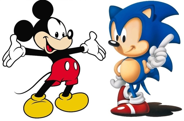 Mickey Mouse And Sonic The Hedgehog With Their Eyes Switched Meme Guy