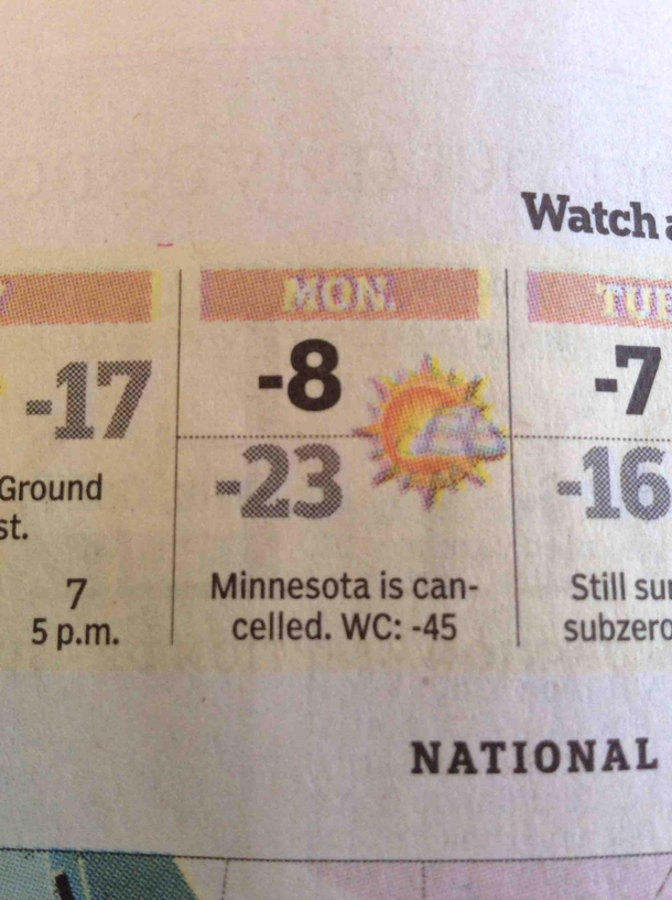 Minnesota is cancelled tomorrow