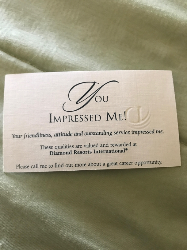 My buddy accidentally left his business card at the house of his ...