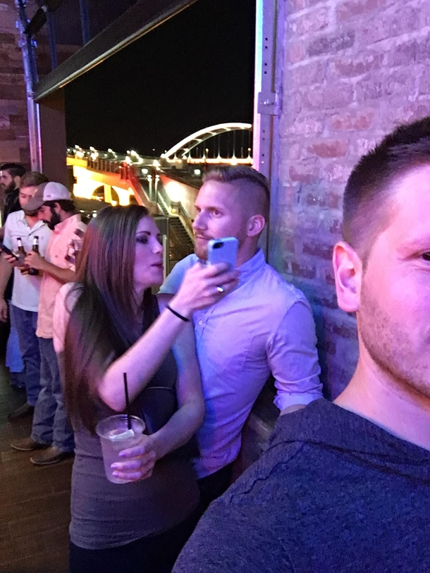 My buddy regretting meeting this Bumble date at the bar