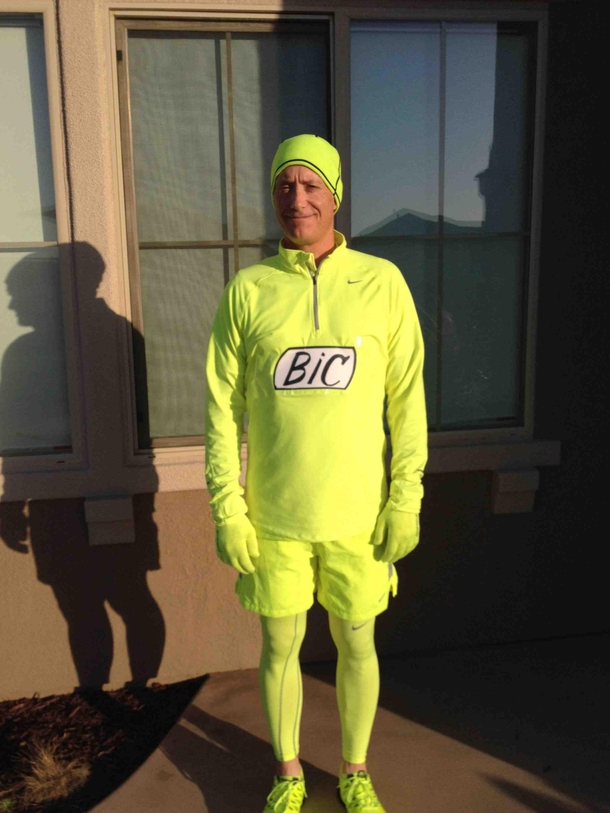 My dad loves neon yellow running gear People always joke that he looks like a highlighter So he ...