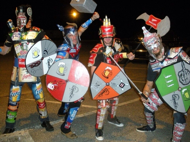My friend and his band dressed as beer warriors for Halloween last year Home made costumes lots of beer disposed of properly
