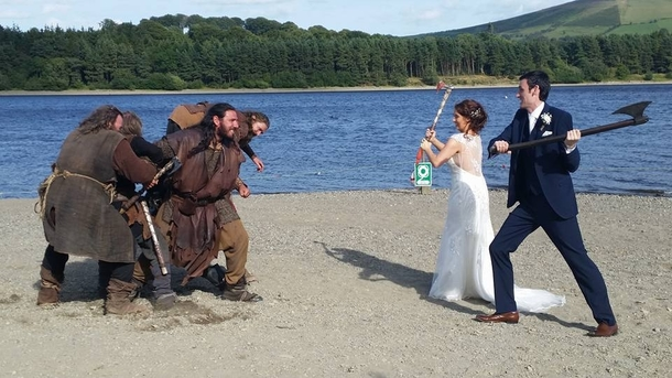 My friend got married near where they film the tv show Vikings and this happened