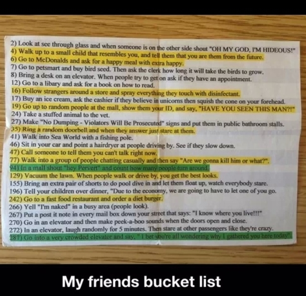 Guys Bucket List my Friends Bucket List