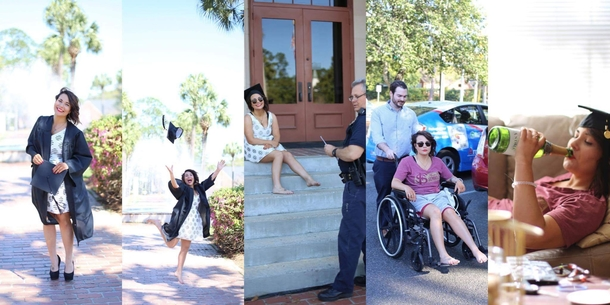 My girlfriend broke her foot  minutes in to her graduation photo shoot