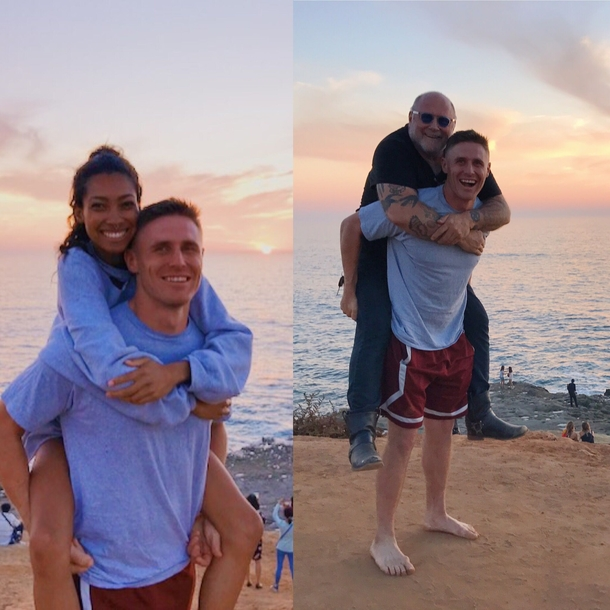 My lady friend wanted a piggy back picture on the beach and a random biker watching the sunset said he wanted one too